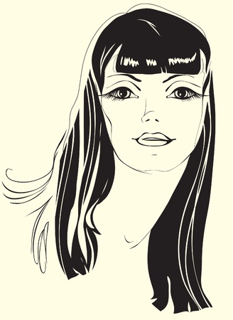 portrait of a girl with black hair. Painted silhouette beautiful woman Vector