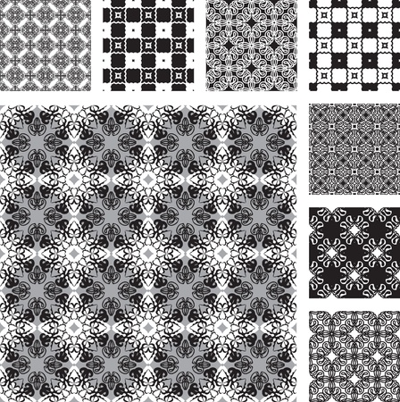 A set of black and white seamless decor. variants of the ornament Vector