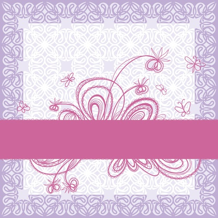 pale lilac decorative background. Ribbon with floral decoration Stock Vector - 11995052