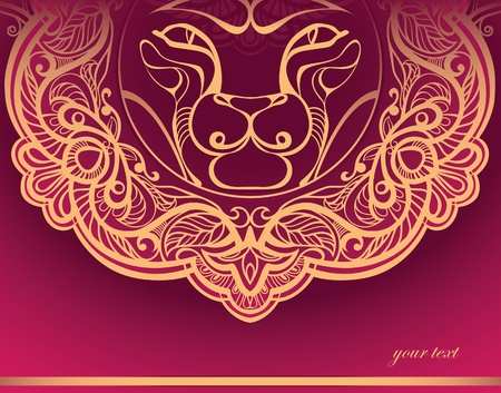 Golden Lion. Decorated mane. stamping Vector