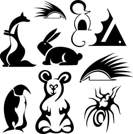 stylized animals. vector silhouette Stock Vector - 12028480
