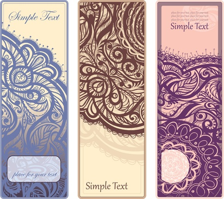 bookmarks: vertical vector flyer with an openwork pattern. set