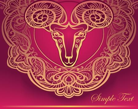 Golden Ram. Horoscope. Decorative background. Aries.