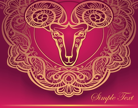 Golden Ram. Horoscope. Decorative background. Aries. Vector