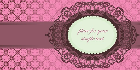 cameo: Invitation to the wedding. Vector lace.