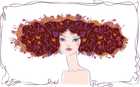 sophistication: A young brunette with a decorative hair with flowers.