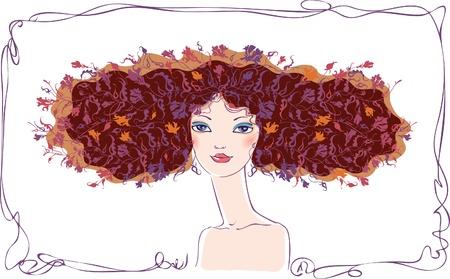 sophistication: Una joven morena con un pelo de decoraci�n con flores.