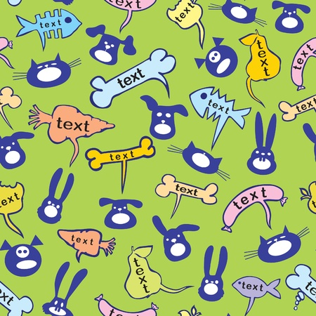 Seamless group of cats, dogs, rabbits and caterpillars. Cloud for the text in the form of bones and vegetables. Vector