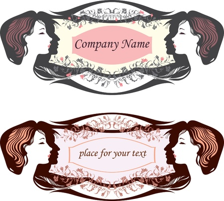 card in an oval shape. Hair salon. options Vector