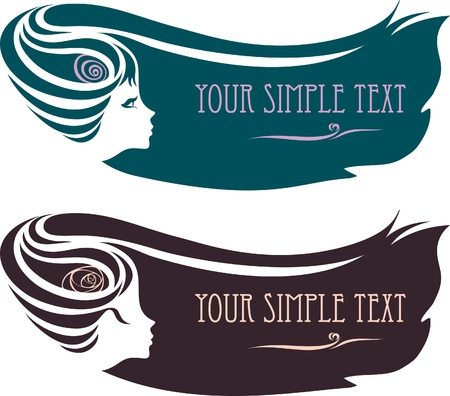 silhouette of a female profile with a hairdo. Vector