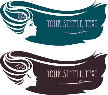 cabello largo y hermoso: silueta de un perfil de mujer con un peinado.