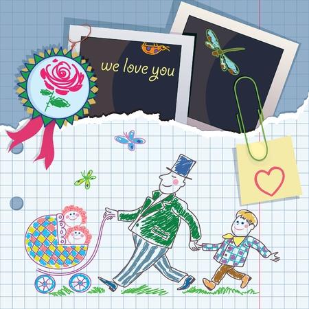 cel: Cartolina dal Padre saluto elementi