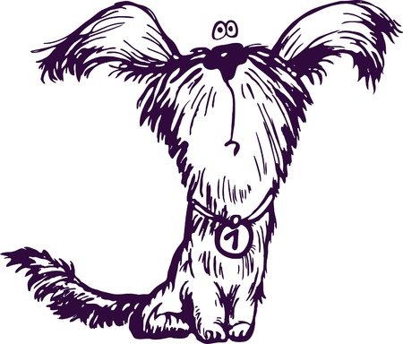 dog rock: Figure shaggy puppy Illustration