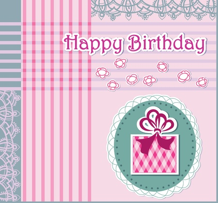 Greeting card with happy birthday  Openwork background  Stock Vector - 12888637