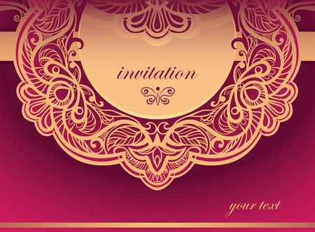 Invitation to the purple tones  Vector background of openwork