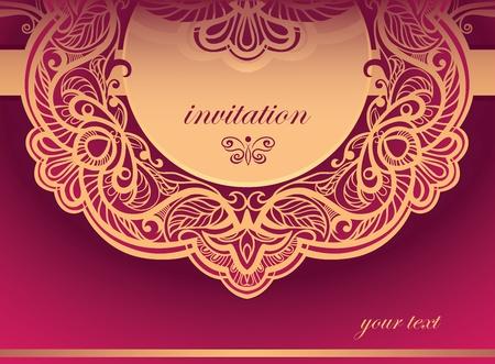 Invitation to the purple tones  Vector background of openwork