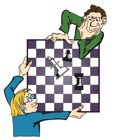 men play chess  Caricature of a complex combination  Vector