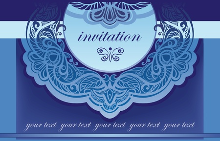 jewelry design: Invitation in blue  Vector background for the cover of the openwork