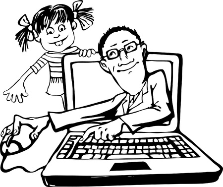 teaches: Emerging from the monitor, the teacher teaches computer literacy of the child  A girl and a laptop