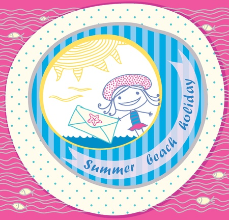 bright postcard beach  Girl with a letter  Stock Vector - 12888636