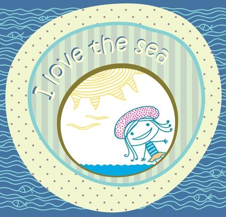 ventana ojo de buey: Tarjeta postal de la playa Chica y el mar Vectores