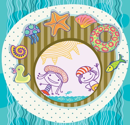 Boy and girl, surrounded by the treasures of the sea. Beach Holidays. Stock Vector - 12888638