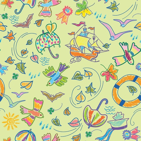 Bright drawn seamless background in the marine theme. Vector