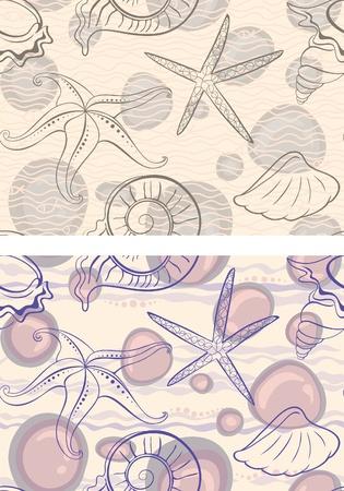 Marine vector background. Contour seashells and starfish.