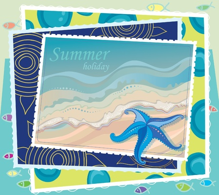 on the shore: a set of cards on the marine theme. Vacations at Sea. Illustration