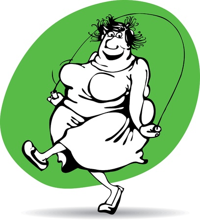 fat cartoon: fat woman jumping with joy on the rope.