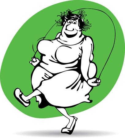 obesidad infantil: mujer gorda saltando de alegría en la cuerda. Vectores