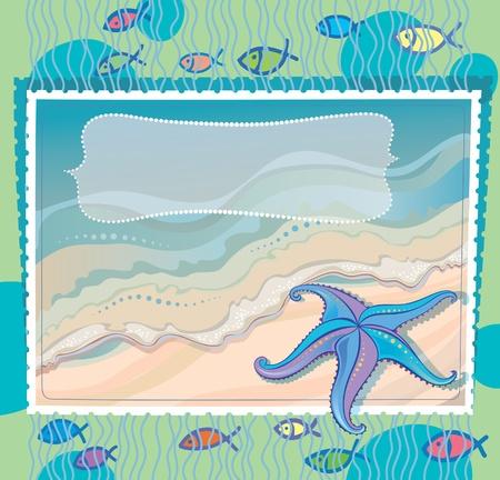 Marine background with starfish. Stock Vector - 13050176