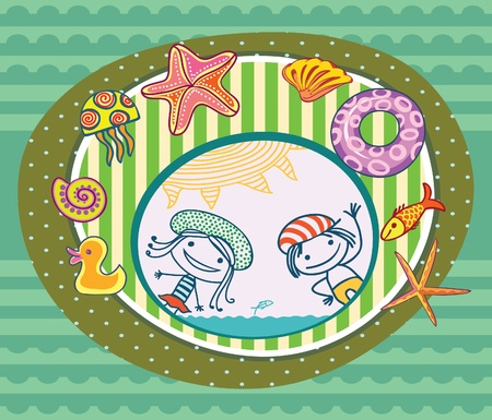 Boy and girl, surrounded by the treasures of the sea. Beach. Vector