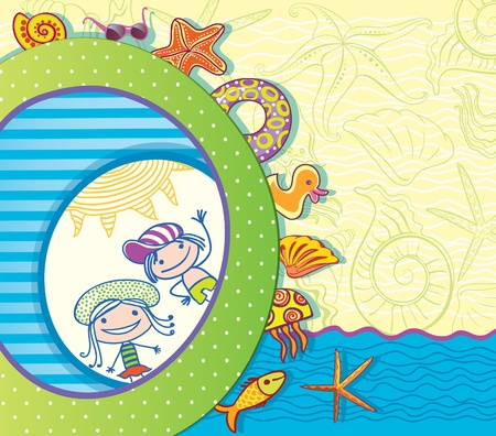 Summer greeting card. Children and beach attributes. Vector