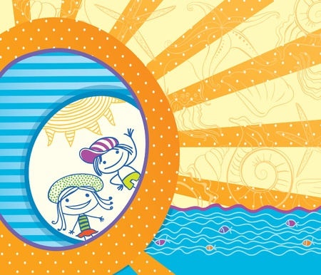 rubber ring: Summer greeting card. Children of the sun. Illustration