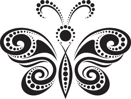 in curved: silhouette of a butterfly from the lines and points