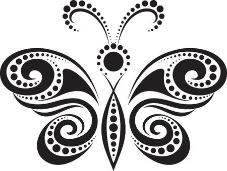 krökt: silhuetten av en fjäril från linjer och punkter
