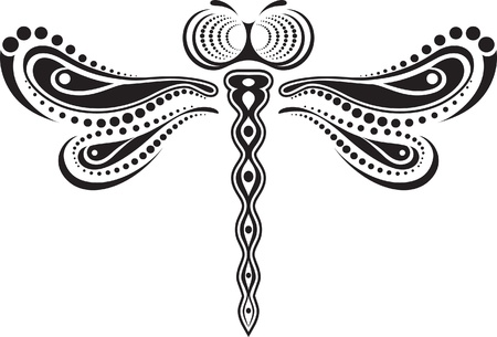 Dragonfly vector of lines and dots.