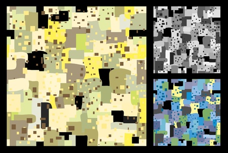 rapport: decorative seamless vector background of the bright spots and squares. Variations in the yellow, blue and gray scale.