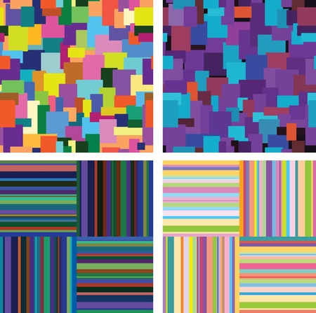 rapport: variants of vector decorative backgrounds of bright stripes and spots.