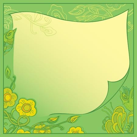 eden: Vektor-Karte - eine Einladung zum Gr�n. Garten Eden und den V�geln. Illustration