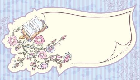 eden: Einladung Blatt Papier mit aufgemalten Blumen und einem Buch.