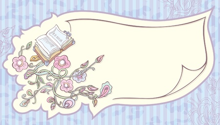 garden eden: invitation sheet of paper with painted flowers and a book.