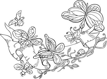 avispa: Las mariposas están volando alrededor de la cinta.