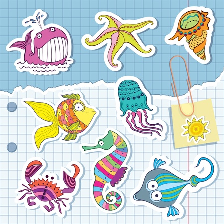 sea creatures: marine life in the form of stickers  Exercise book in a cage