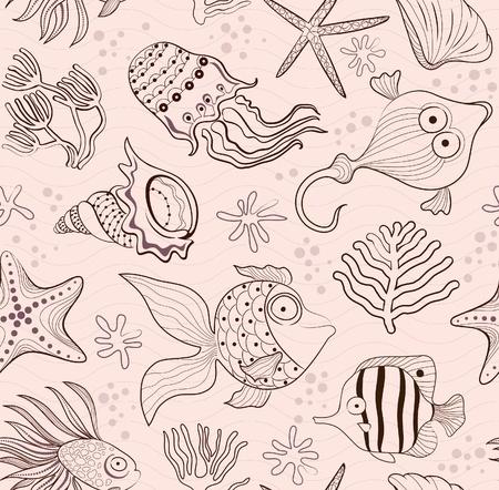 fondali marini: intarsio trasparente di creature marine, coralli e conchiglie. Contorno marrone su uno sfondo rosa.
