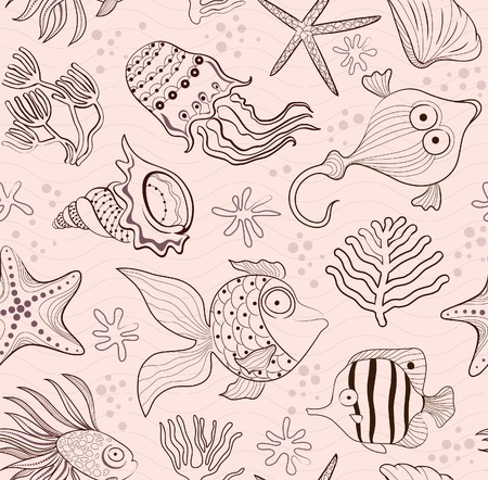 seabed: seamless inlay of sea creatures, corals and shells. Brown contour on a pink background.