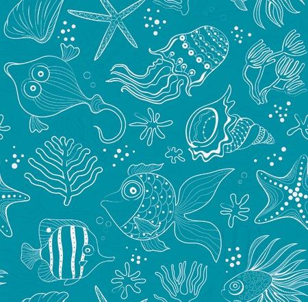 fondali marini: intarsio trasparente di creature marine, coralli e conchiglie. Percorso rosa sullo sfondo smeraldo.
