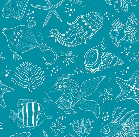 seabed: seamless inlay of sea creatures, corals and shells. Pink path in the emerald background. Illustration