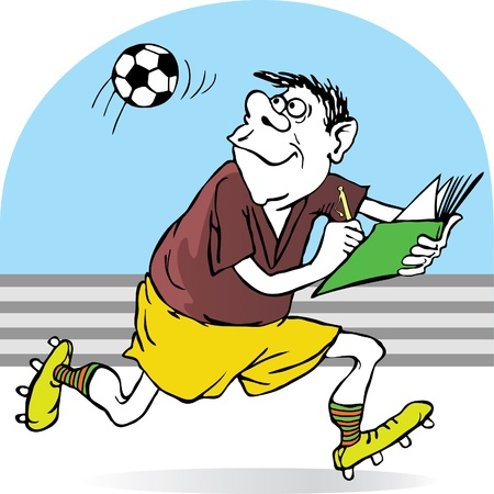 football referee records in a notebook flight of the ball. caricature Illustration
